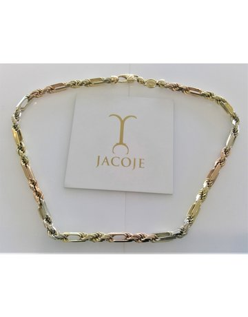 Jacoje 14kt Tri-Tone Figarope 6.5mm 18in
