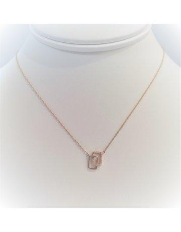Franklin Jewelers 14ktR Interlocked Square 1/12cttw Dia Necklace