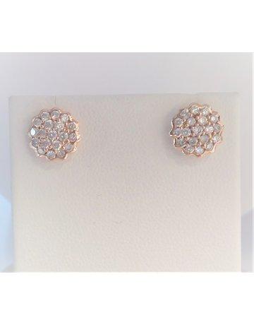 Franklin Jewelers 14kt Rose Gold 3/4cttw Diamond Cluster Earrings