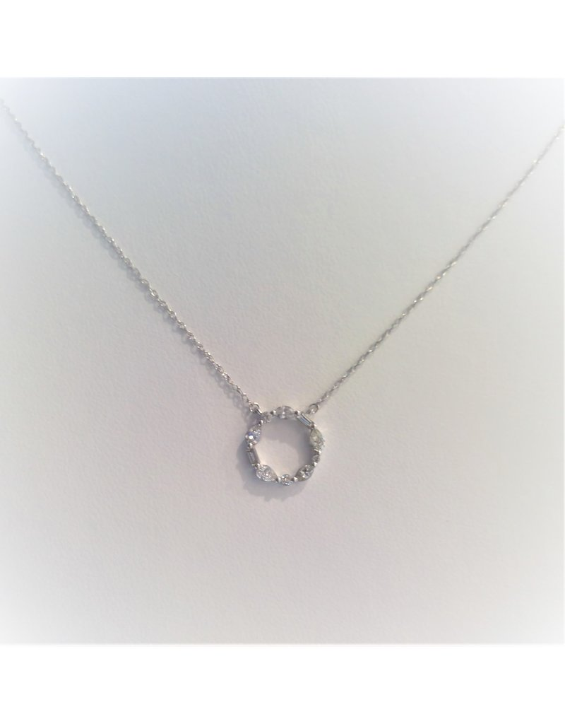 Franklin Jewelers 14kt White Gold 1/4cttw Round, Pear Shape, Marquee Shape and Baguette Diamond Pendant