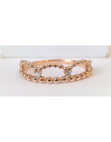 Franklin Jewelers 14kt Rose Gold 1/12cttw Diamond and Bead Fashion Crown Ring
