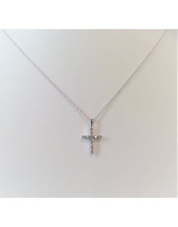 Franklin Jewelers 14kt White Gold 1/10cttw Diamond Cross Necklace