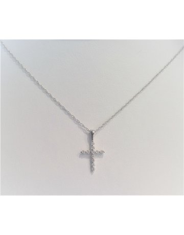 Franklin Jewelers 14kt White Gold 1/5cttw Diamond Cross Necklace