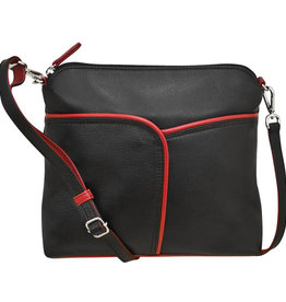 Crossbody Black with Red Trim
