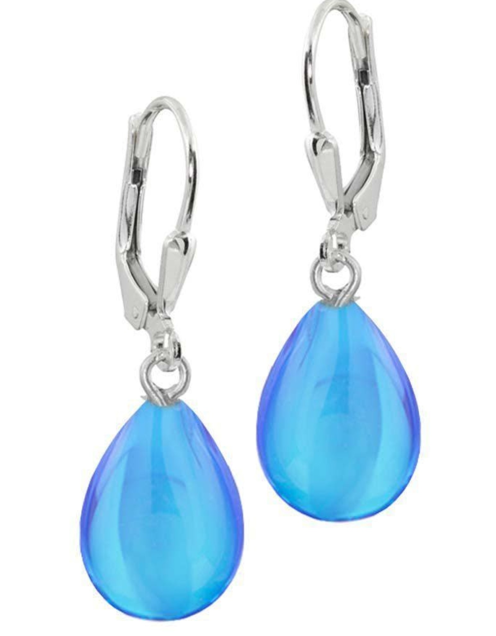Frosted Blue Drop Earring