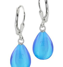 Frosted Blue Drop Earring