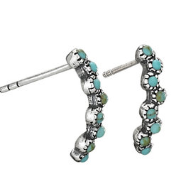 Turquoise Strand Earrings on Silver Post