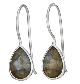 Earring Teardrop on Wire Labradorite