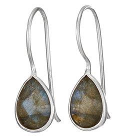 Labradorite and Silver Teardrop Earrings
