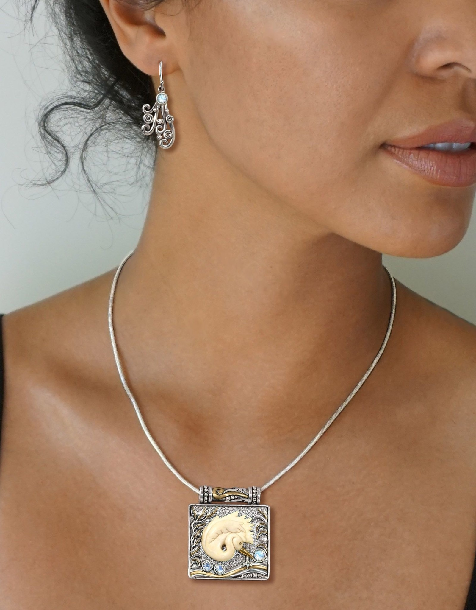Sterling Silver Mammoth Ivory Egret Locket