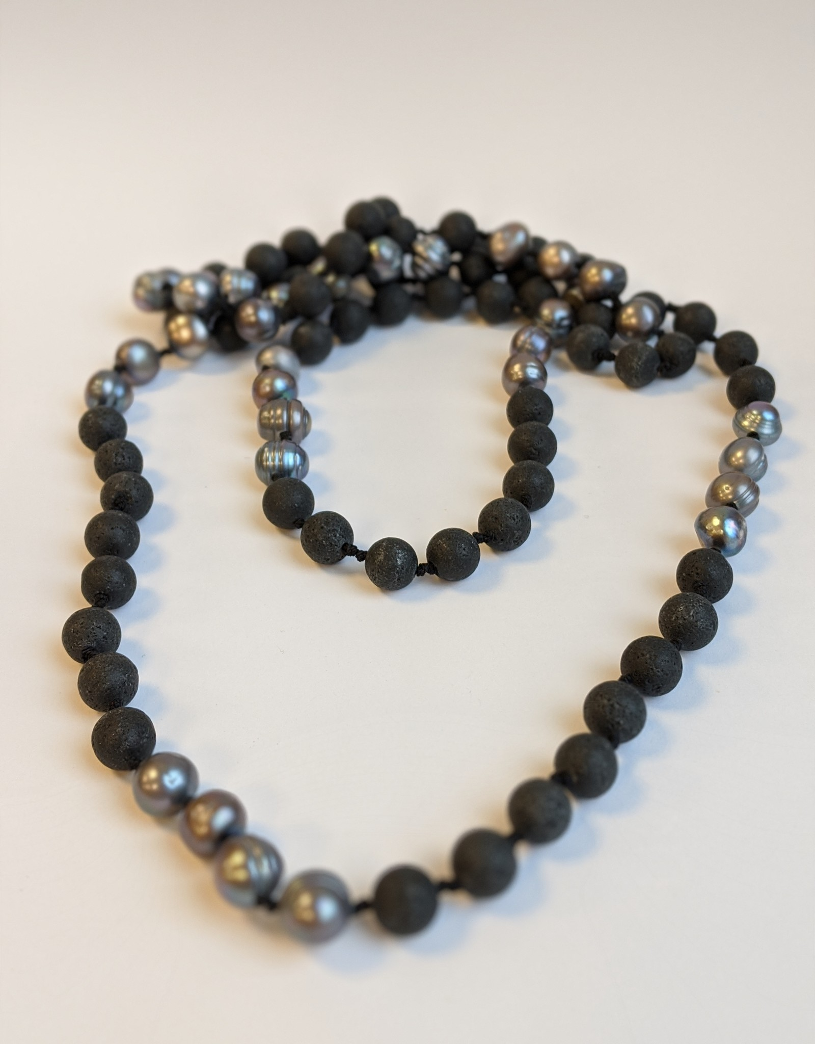 Tahitian Pearl and Lava Bead Necklace