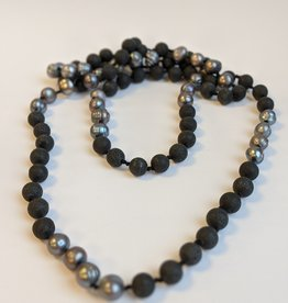 Necklace Tahitian Pearls Lava Beads