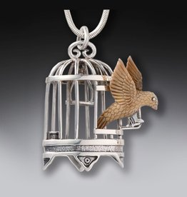 Freedom Bird Cage Fossil Necklace