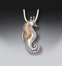 Seahorse Silver Fossil Pendant