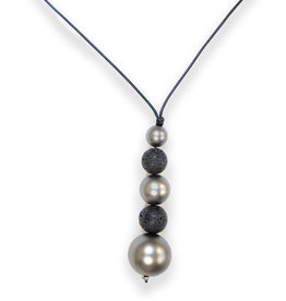 Black Cord Black Lava Necklace #2