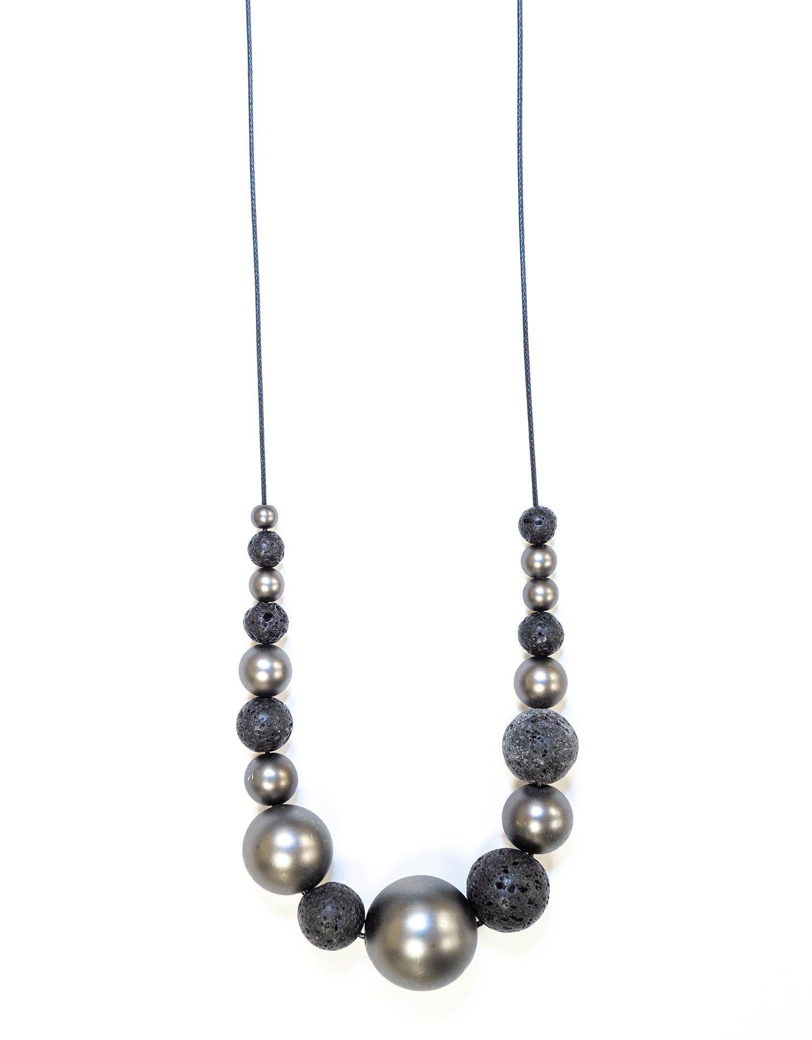 Necklace Black Cord Black Lava