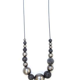 Black Cord Black Lava Necklace