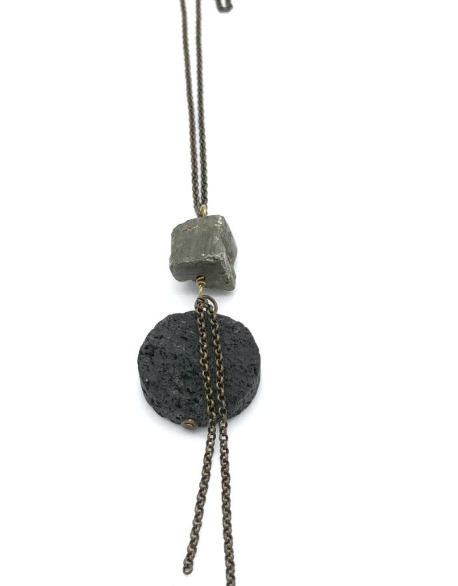 Necklace Volcanic Ash Disc Smooth