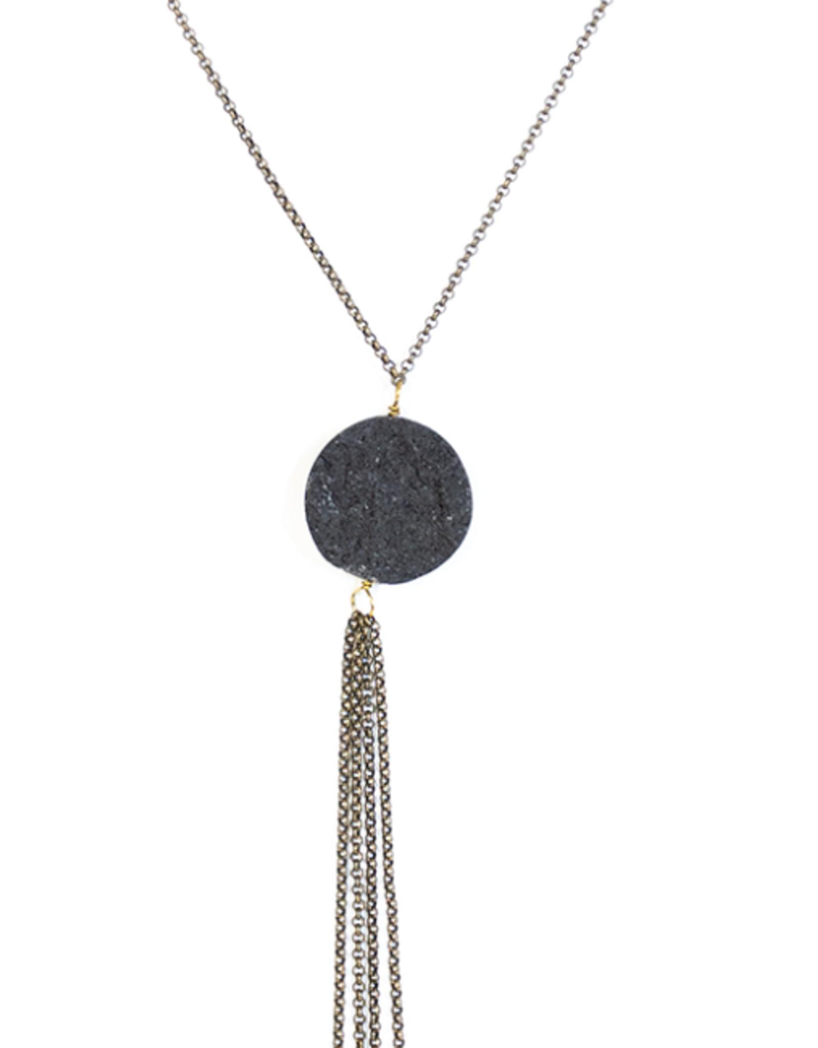 Necklace Volcanic Ash Disc Rough