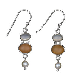 Moonstone, Apricot and Pearl Earring
