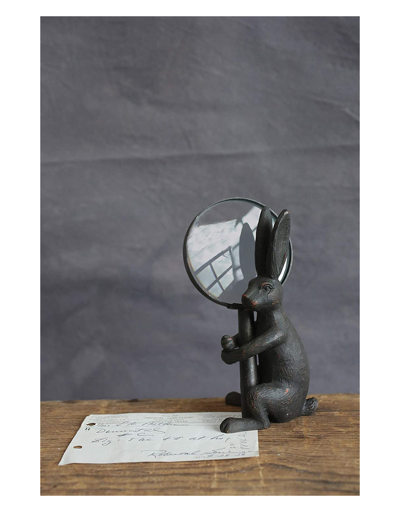 Pewter Magnifier with Rabbit Stand