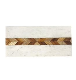 White Marble & Wood Mosaic Serving Board
