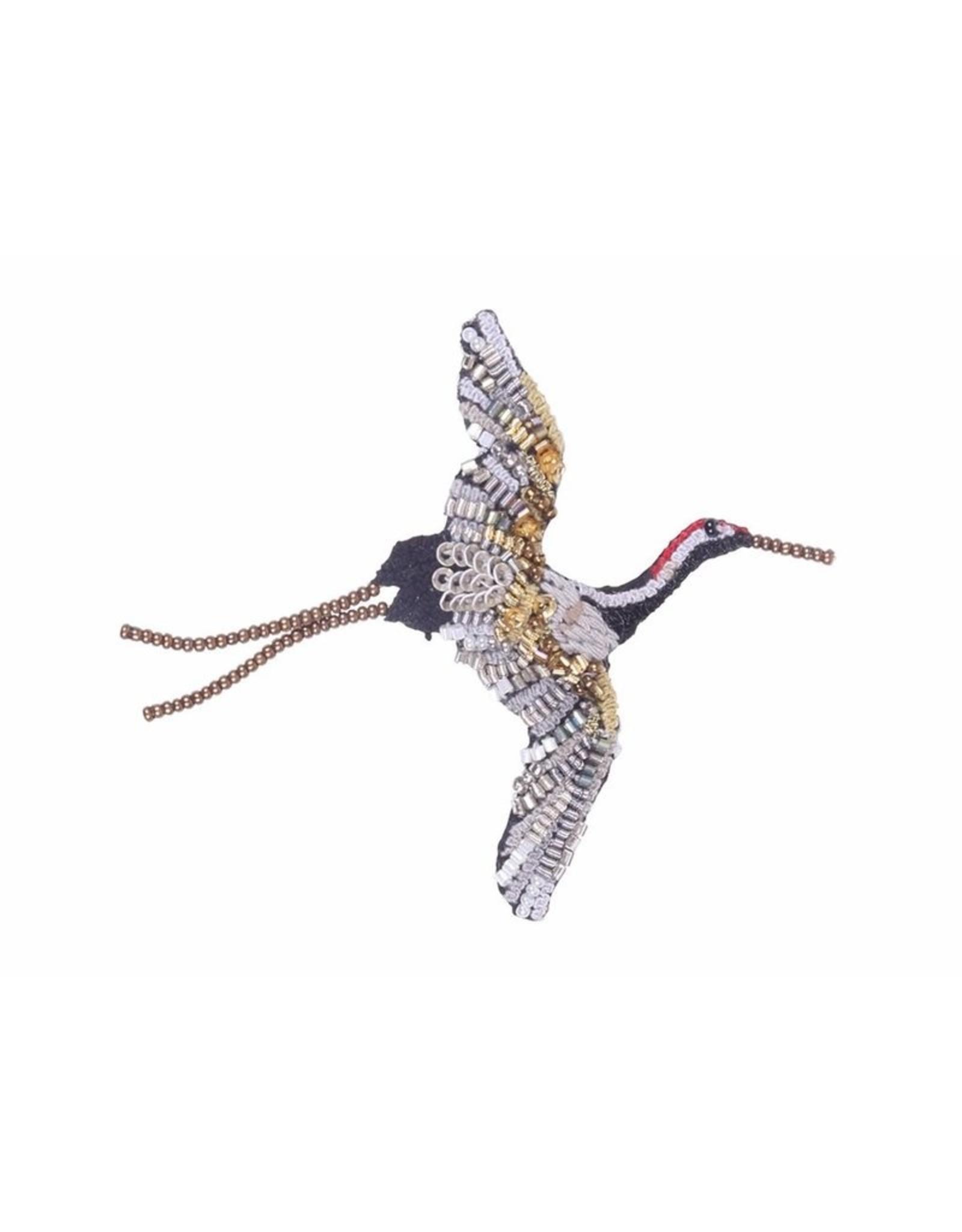 Flying Crane Brooch Pin