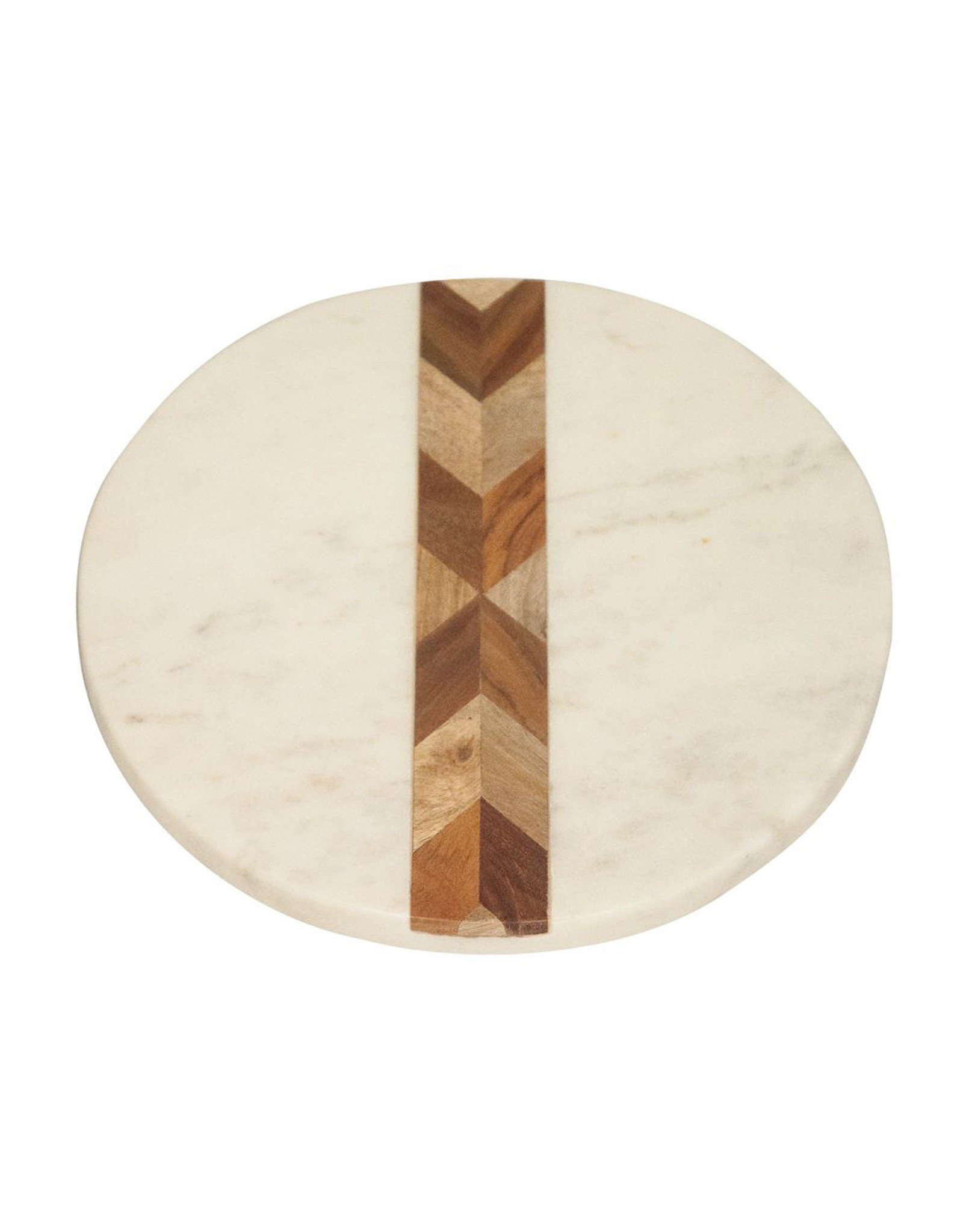 White Marble Wood Round Board