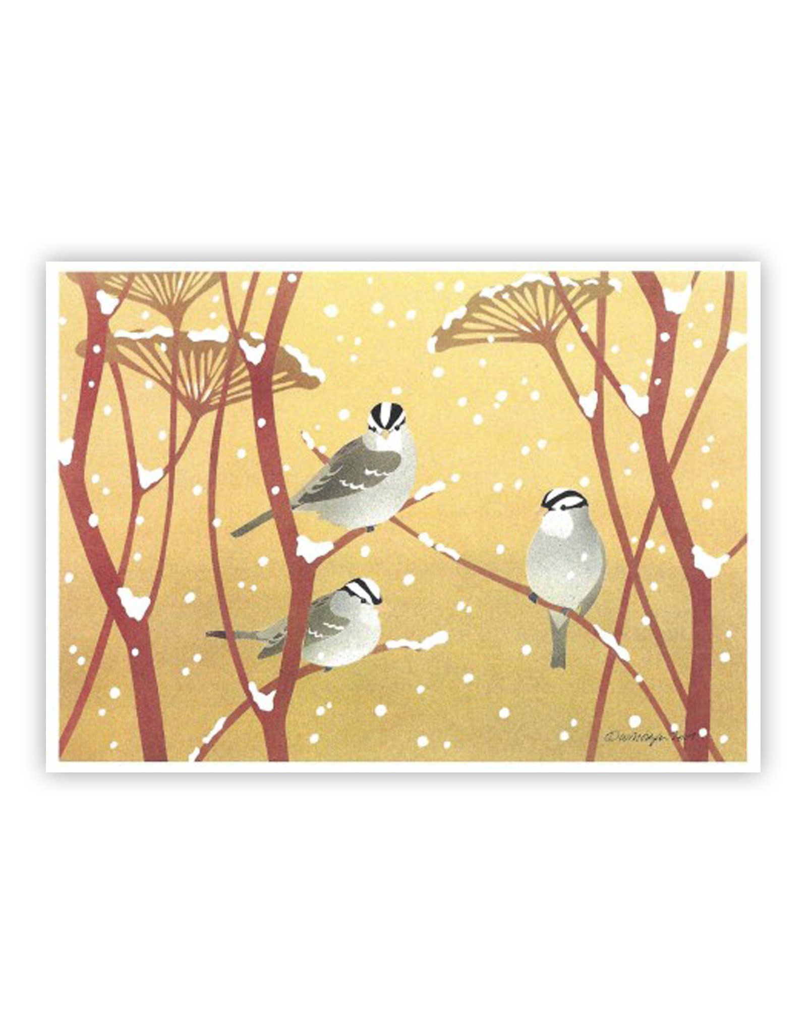 Cards Winter Crown Sparrows