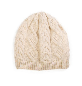 Cream Merino Cable Beanie