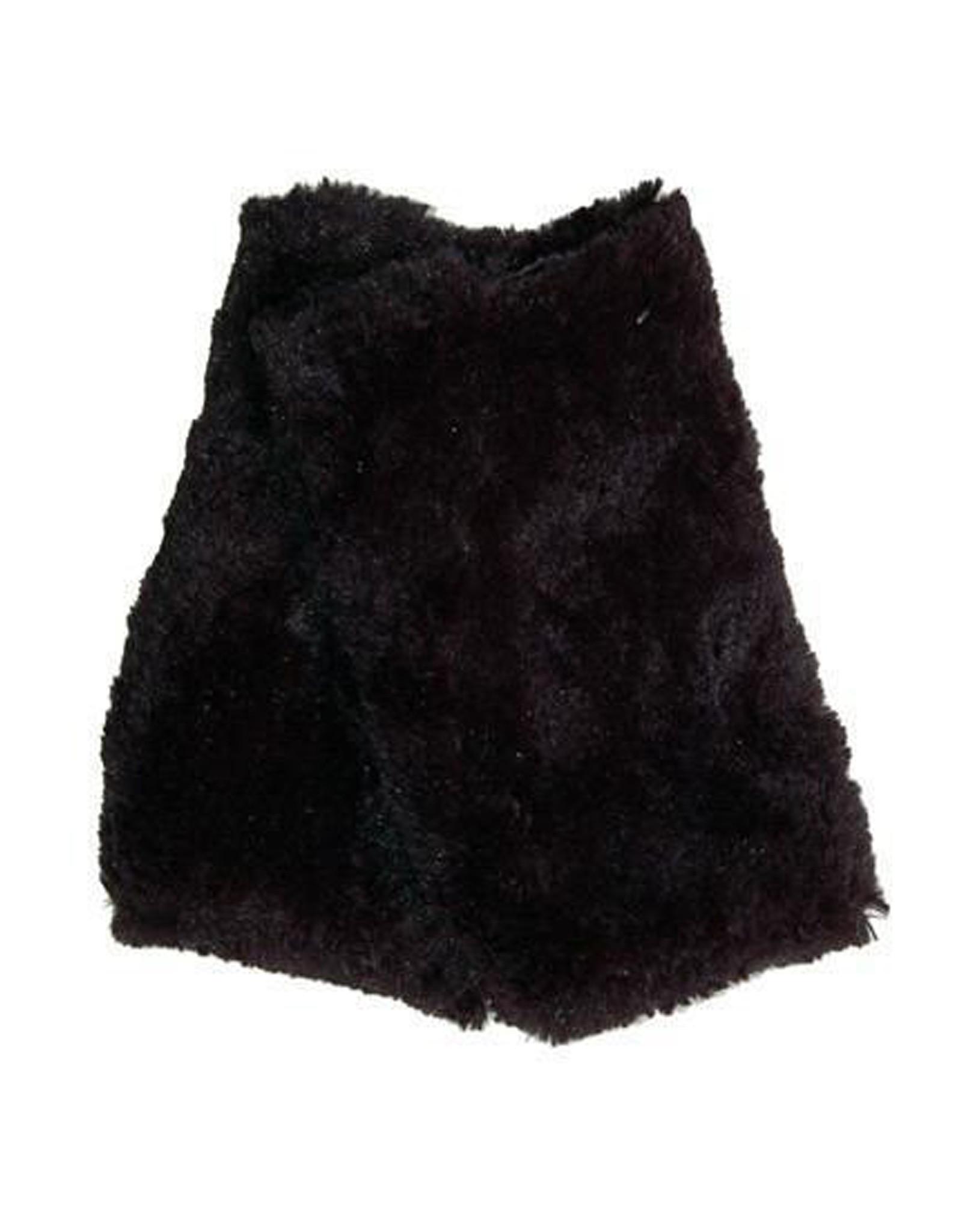 Fingerless Faux Fur Gloves in Rosebud Black