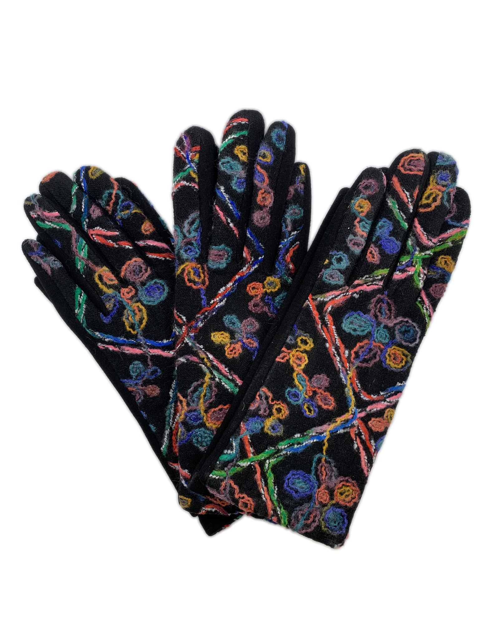 Gloves with Yarn Embroidered Floral Design