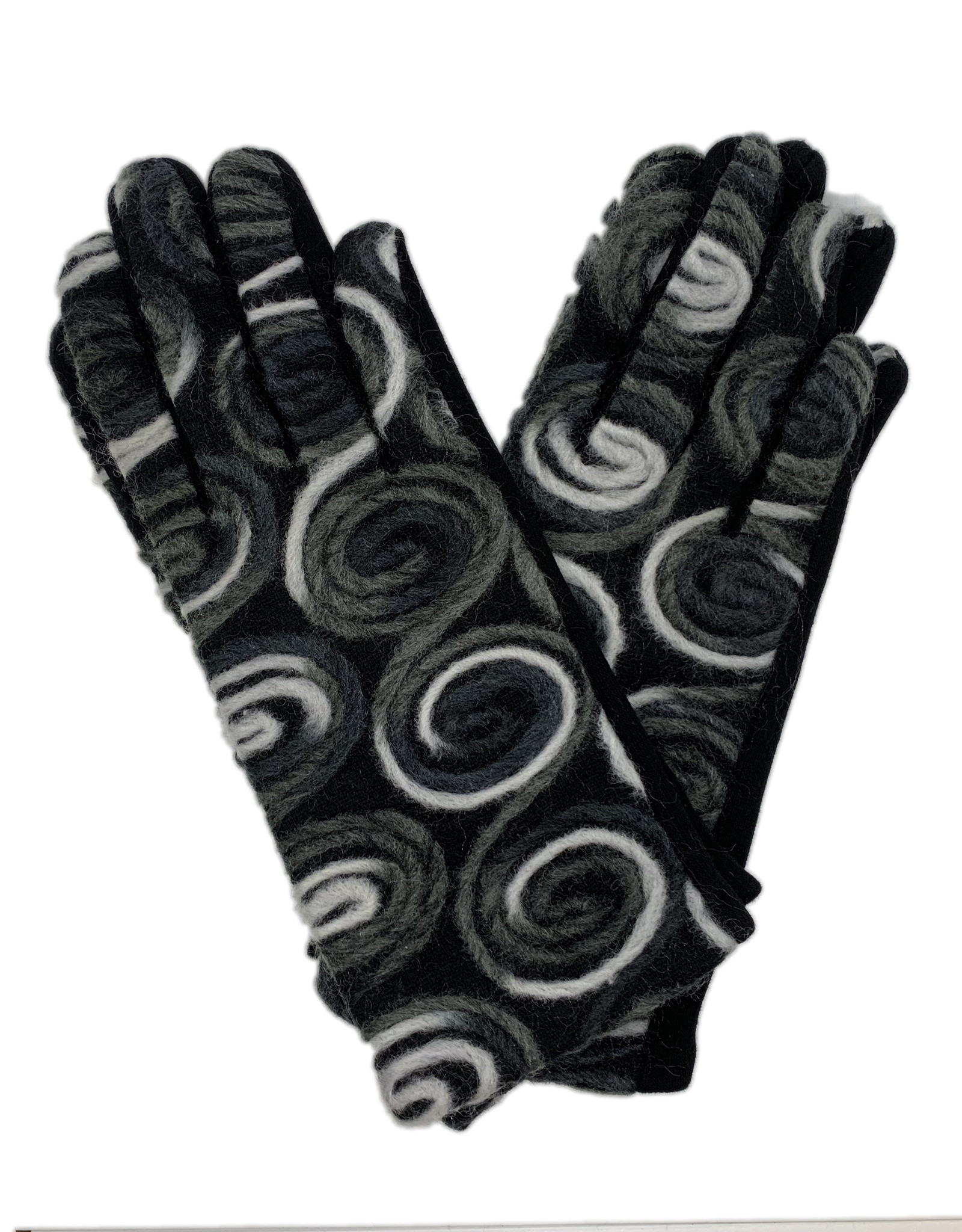 Gloves with Grey and White Yarn Circles