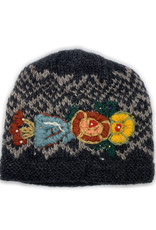 Wool Beanie with Beaded Rose