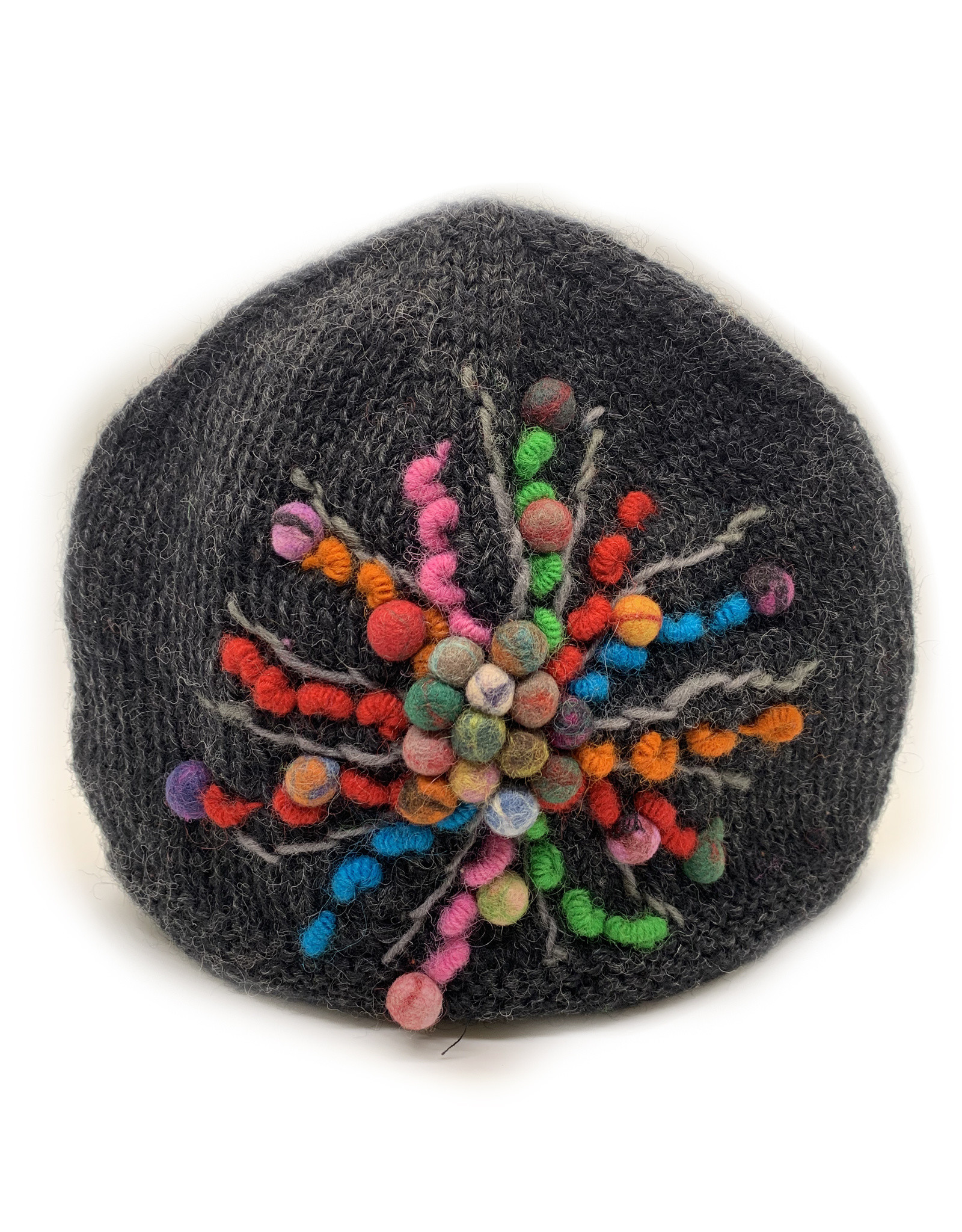 Charcoal Wool Beanie with Star Detail