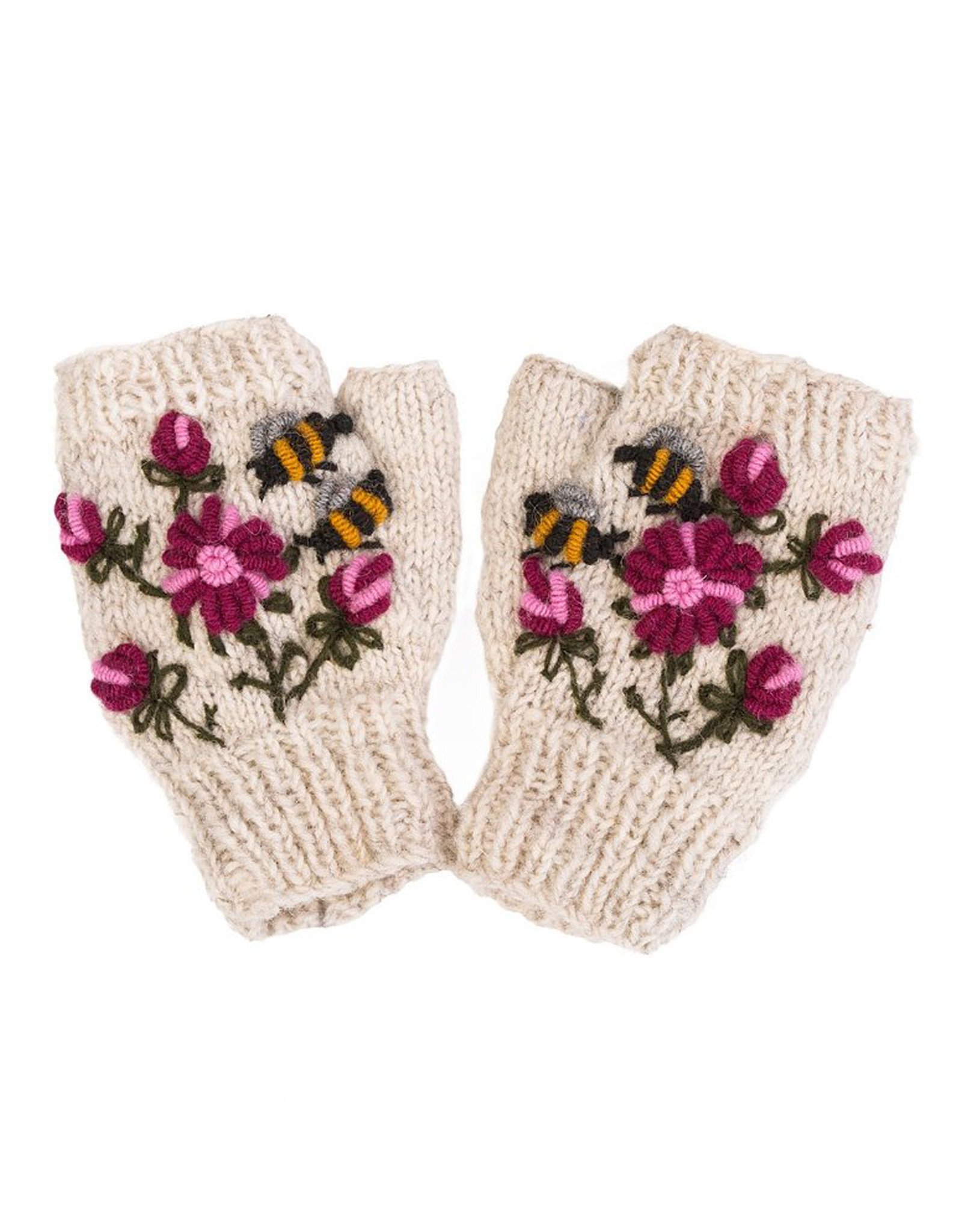 Hand Warmers with Embroidered Bees & Flowers