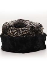 Large Cuffed Pillbox Hat in Black/Smokey