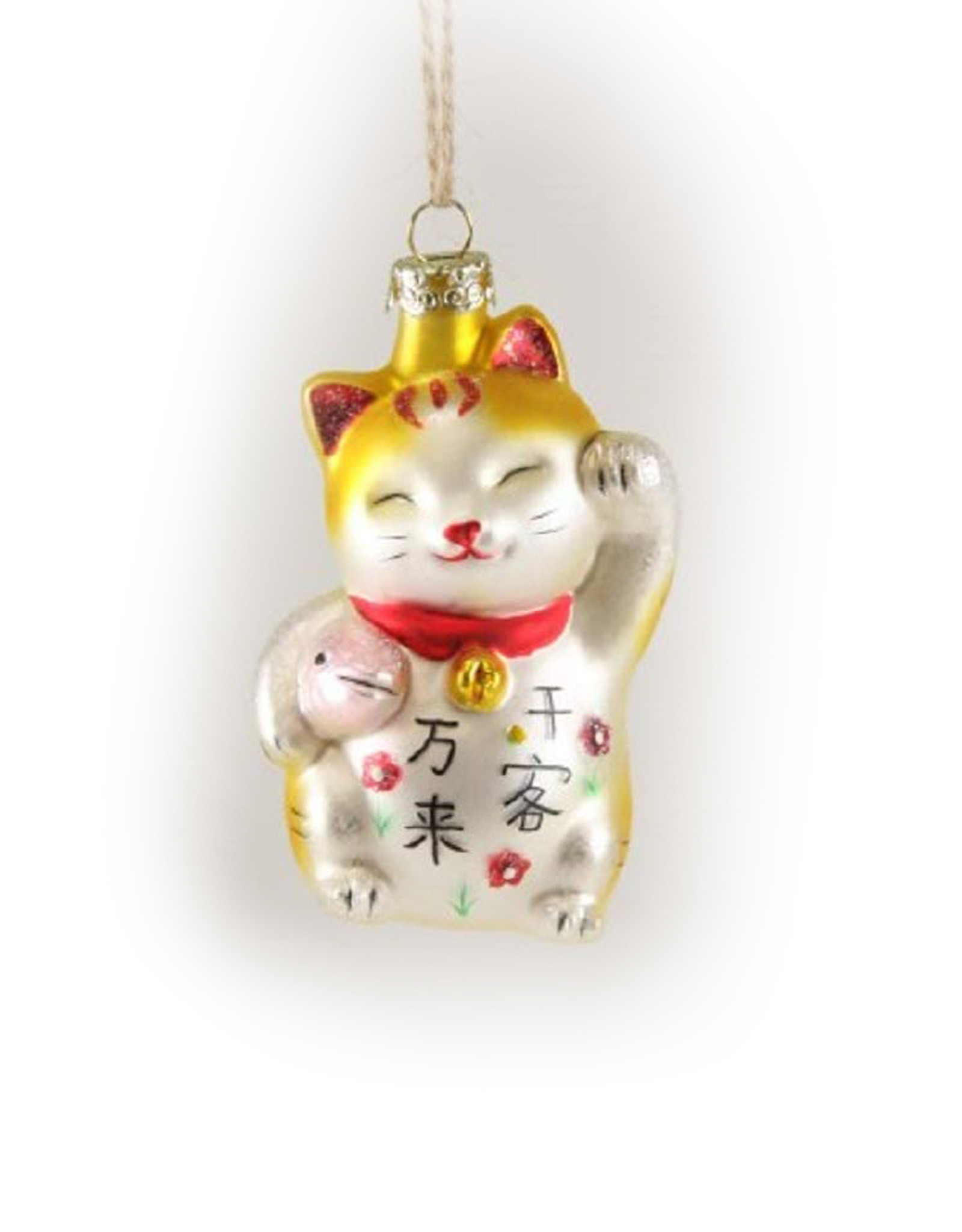 Beckoning Cat With Fish Ornament