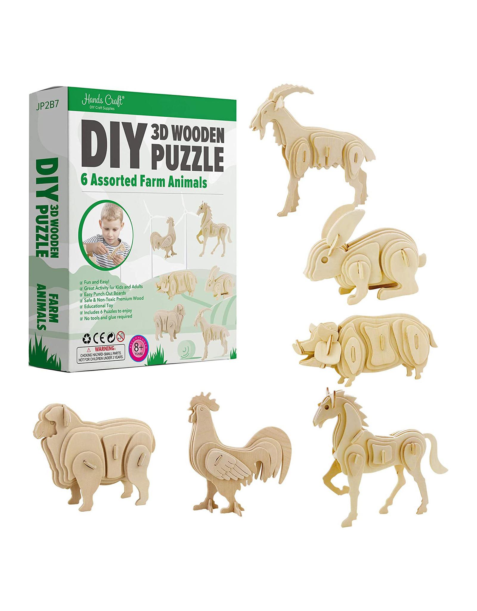 3D Wooden Puzzle: Farm Animals