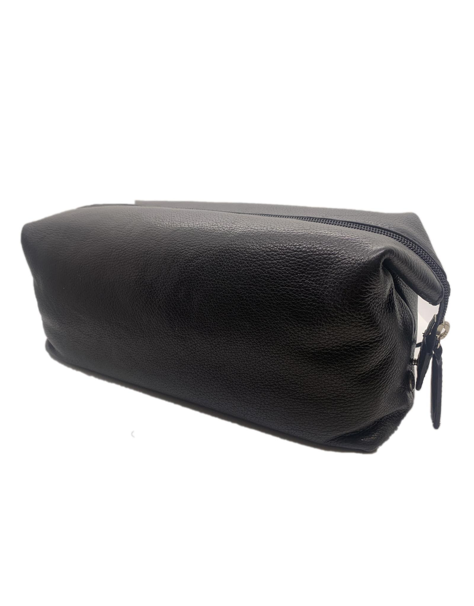 Black Leather Travel Kit Black