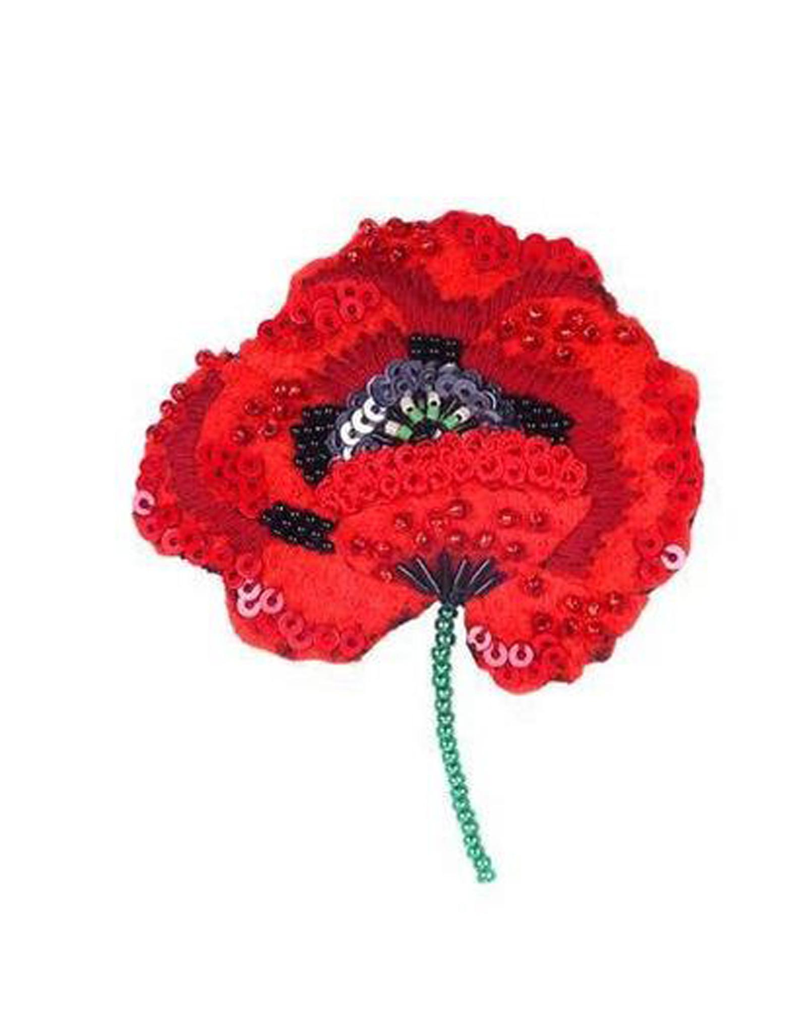 Red Poppy Brooch Pin