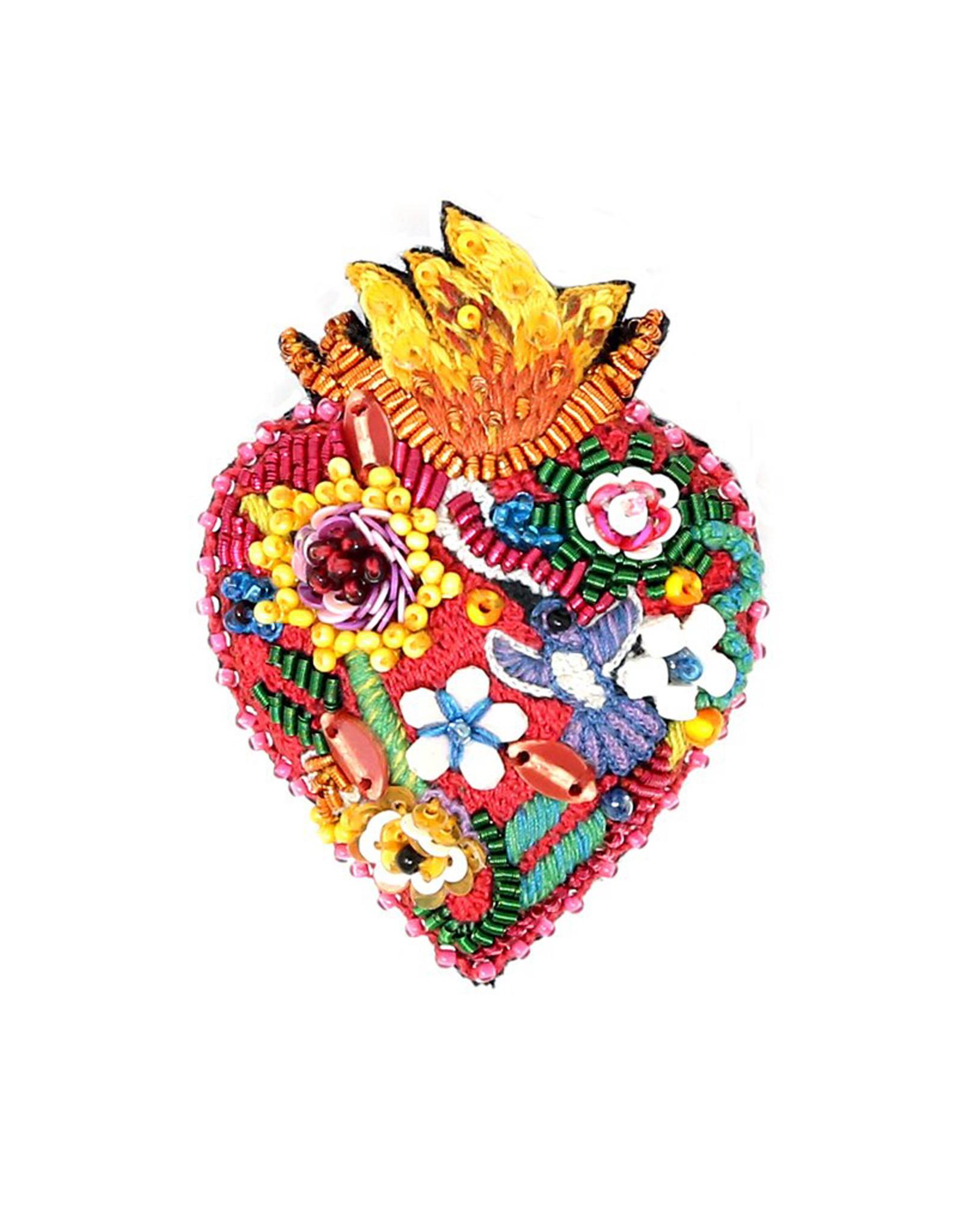 Flaming Heart Brooch