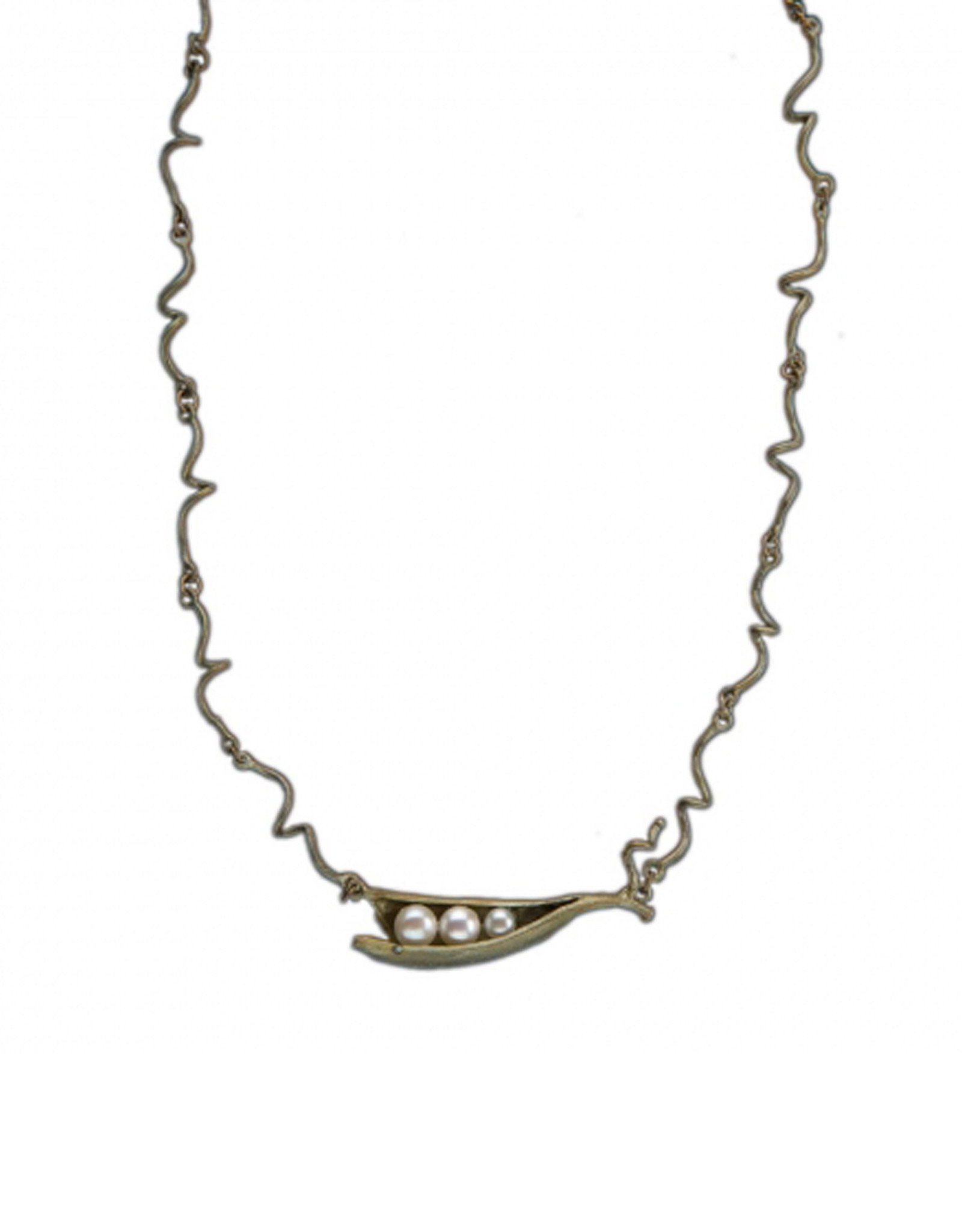 Three Pearl Peapod Necklace with Twig Chain