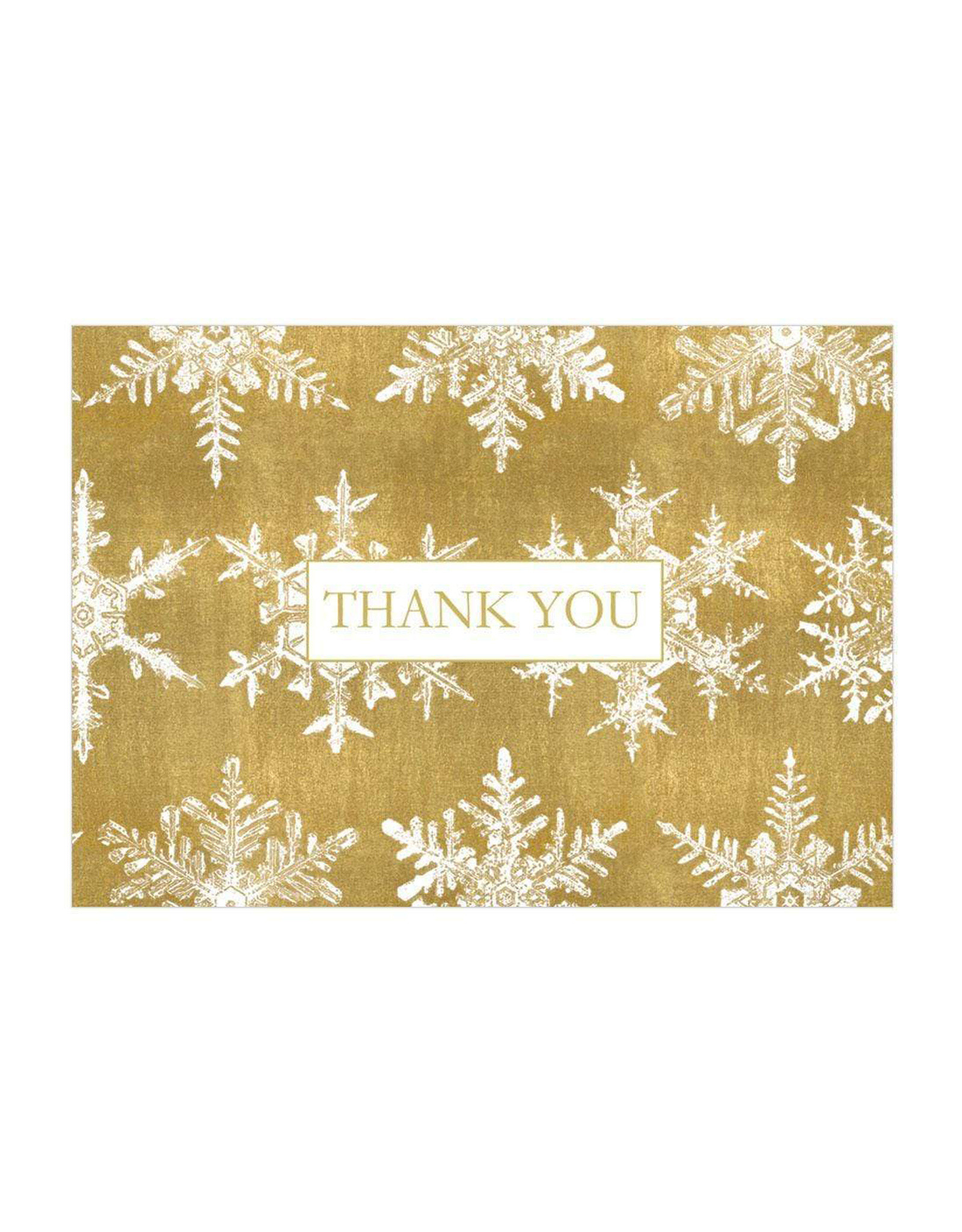 Gold Snowflakes Thank You Cards
