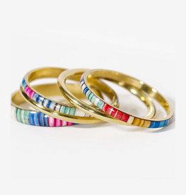 Multi Striped Bangles Set