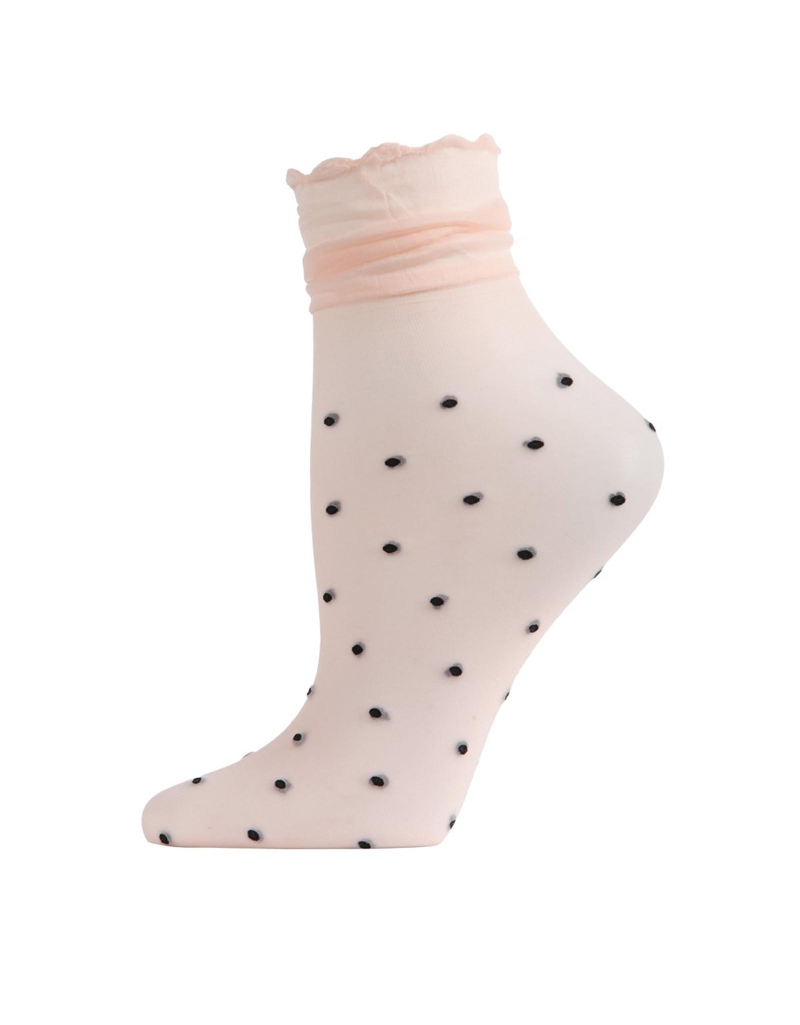 Peach Polka Dot Sheer Ankle Socks