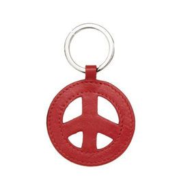 Leather Peace Sign Key Ring