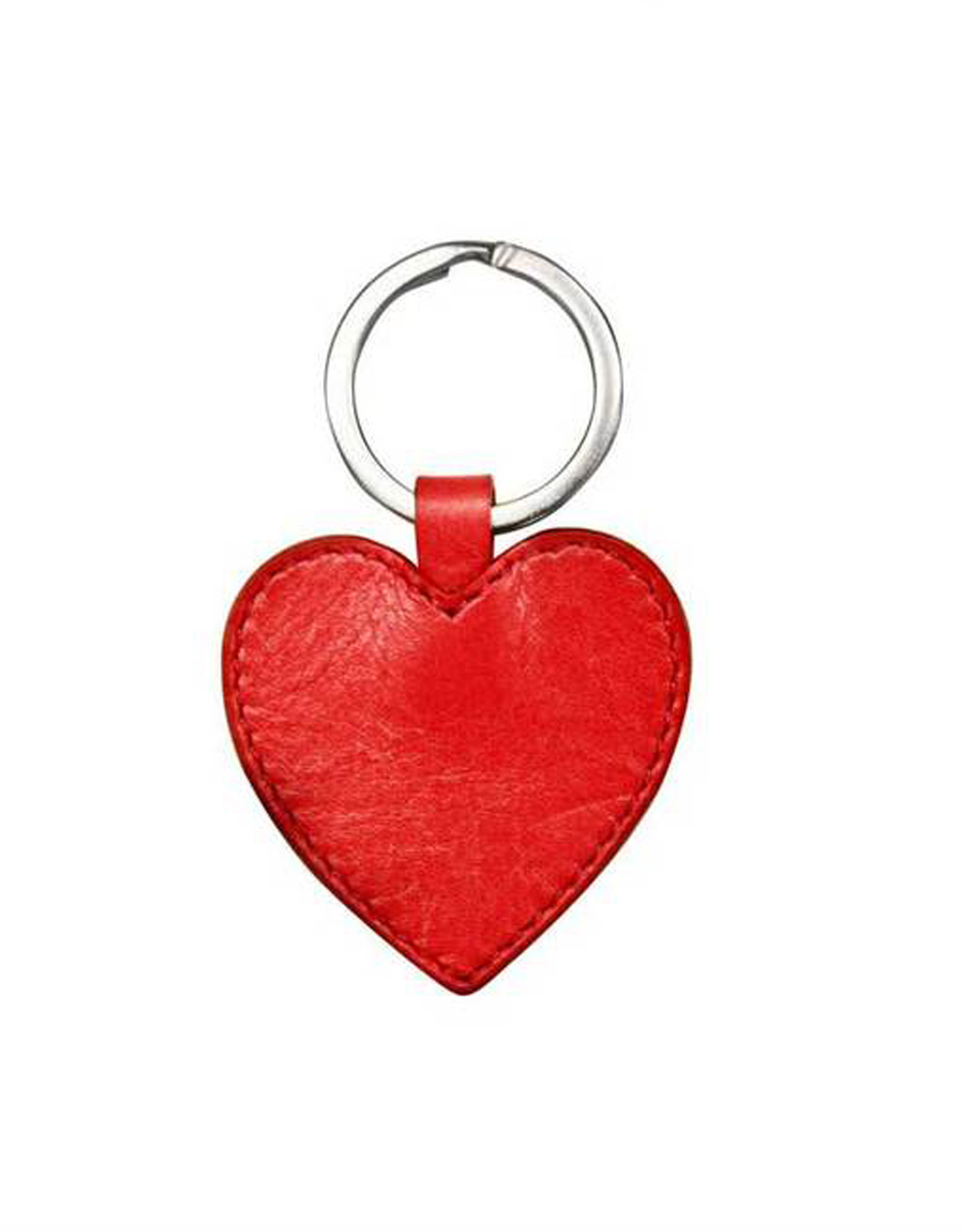 Red Leather Heart Key Ring