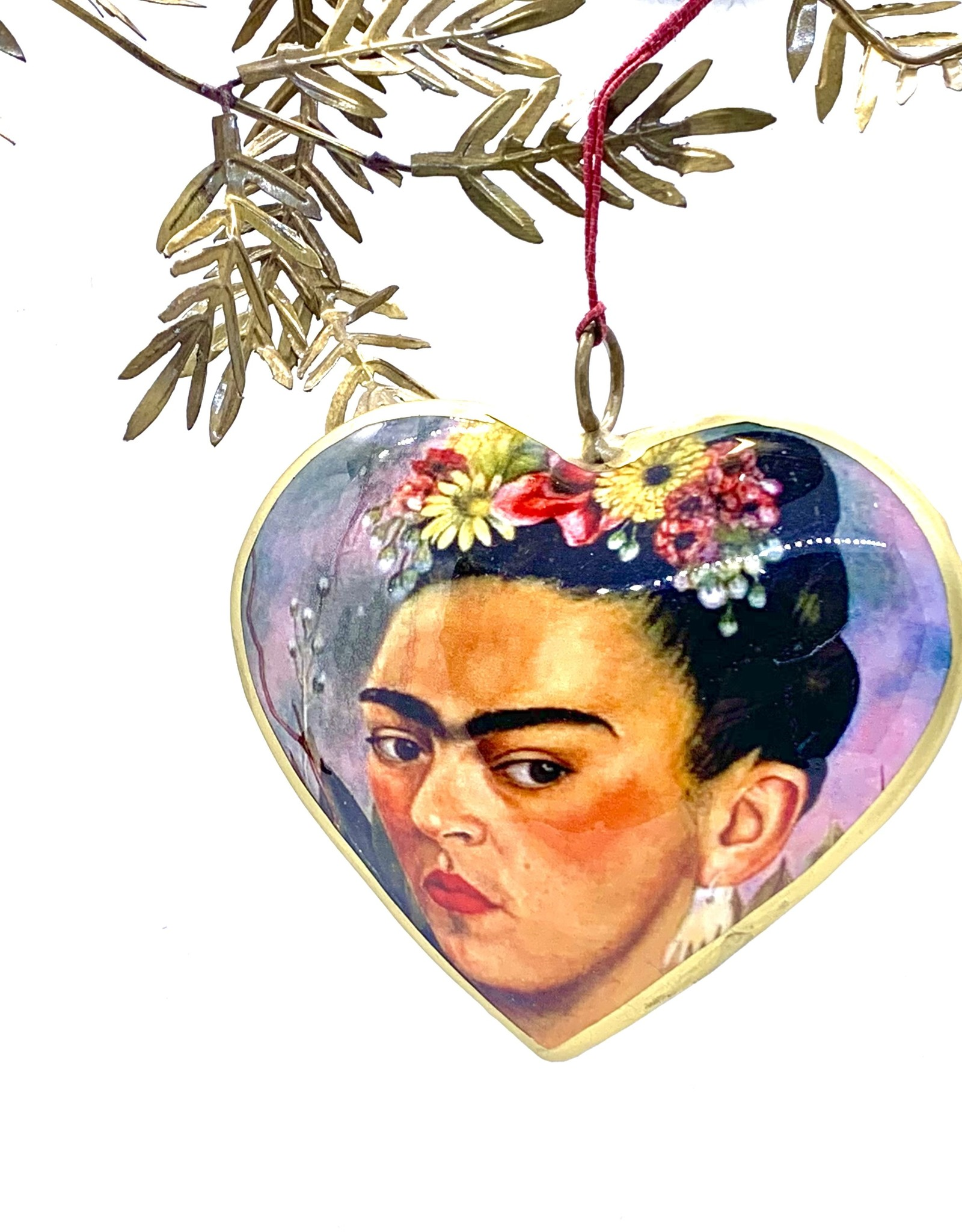 Frida Heart With Flowers Metal Ornament