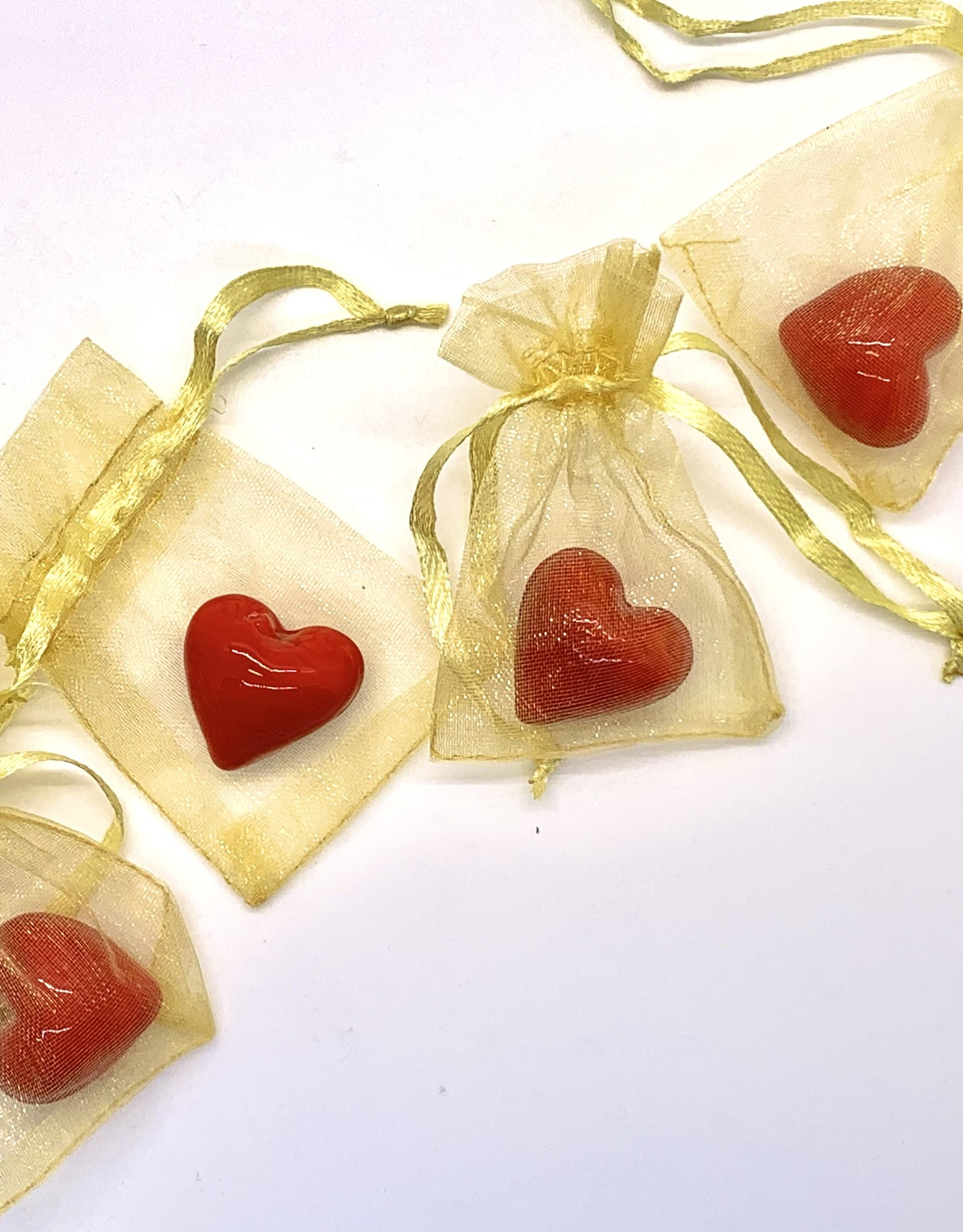 Red Glass Hearts With Organza Bag